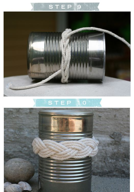 Sailor's Knot Bracelet - 3.5 yards of rope/twine & a 20 oz. metal can.