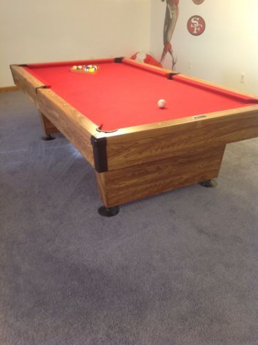 Brunswick Billiards Pool Table W Red Felt And Pockets