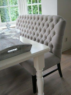 Beautiful Tufted Gray Banquette Seating Does Exist And He Would Sit On This Decorating House Pinterest Bench