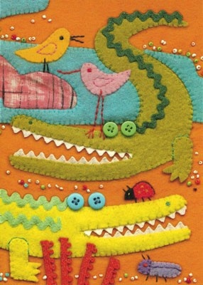 Sweet children's card taken from a felt collage and illustrated with a two crocodiles