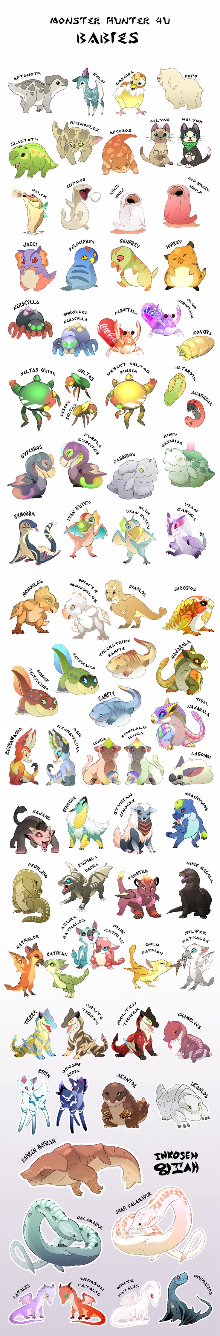 Monster Hunter 4U Babies by macawnivore on DeviantArt