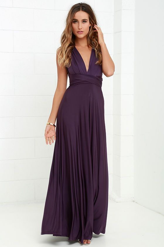 "$58 bridesmaid dress - many colors -Any which way you wrap it, the Always Stunning Convertible Purple Maxi Dress is one amazing dress! Two, 83"" long lengths of fabric sprout from an elastic waistband and wrap into dozens of possible bodice styles including halter, one-shoulder, cross-front, strapless, and more. Stretchy dark purple fabric has a satiny sheen, and a full length maxi skirt pairs perfectly with any choice you make up top."