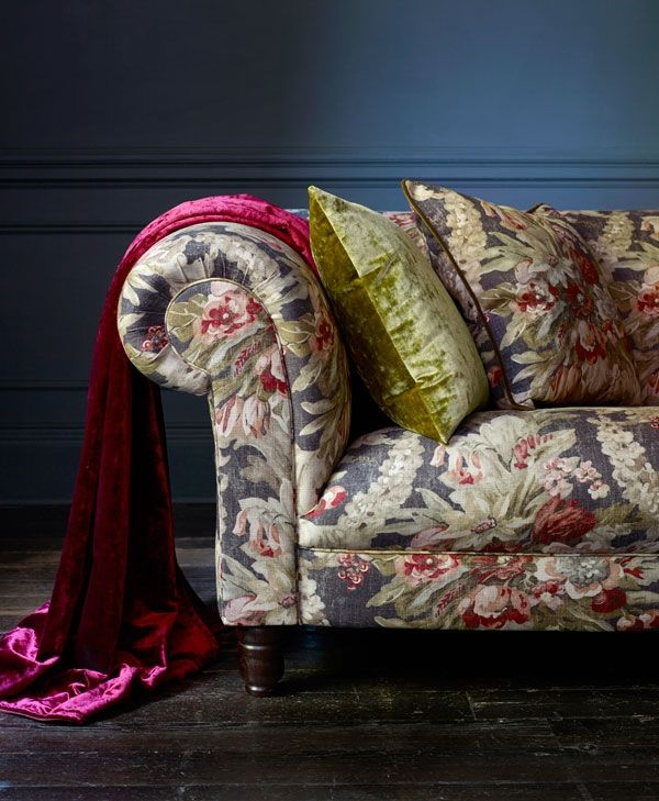 Velvet added to Floral  take  a spring/summer sofa, luxuriously into winter.  Arcadia by Linwood Fabrics & Wallpapers.