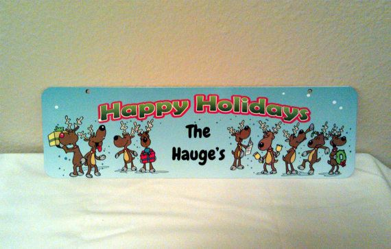 Happy Holidays Reindeer Aluminum Christmas Holiday by LogoPrint