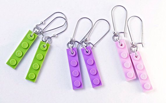 Lime Green LEGO® Earrings - Dangly Earrings - LEGO® Gifts for Adults - Ladies Gift Ideas - Cool Gift For Teen - Girl Gift Ideas - LEGO® Gift ~ Sign up to get a discount code at http://www.BrickAndButton.com