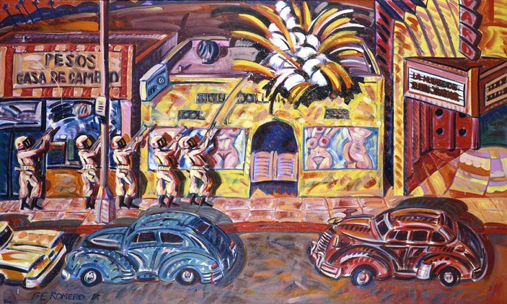 """atomicculture: """" Death of Rubén Salazar 1986 Frank Romero Born: East Los Angeles, California 1941 oil on canvas 72 ¼ x 120 3/8 in. (183.5 x 305.8 cm.) Smithsonian American Art Museum Museum (not currently on view) """""""