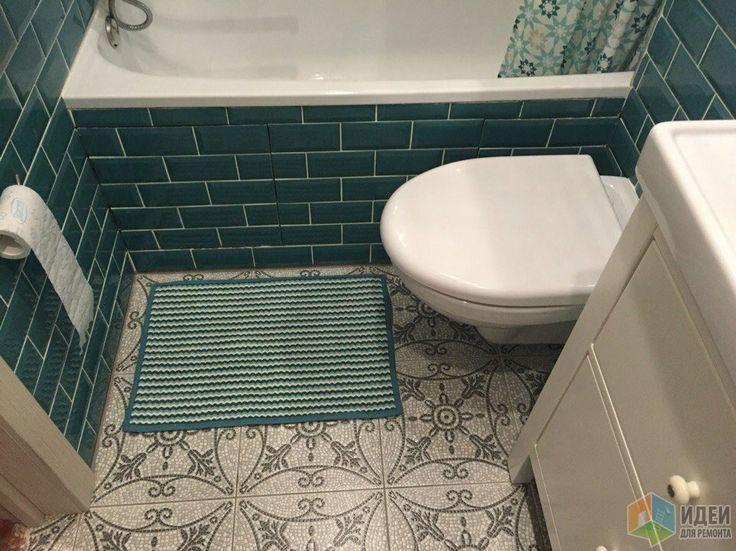 Маленькая ванная фото, плитка цвета морской волны
