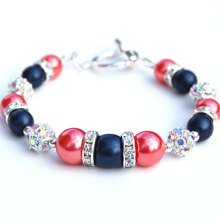 designer online store Navy and Coral Pearl Rhinestone Bracelet Bridesmaids Gifts Summer W