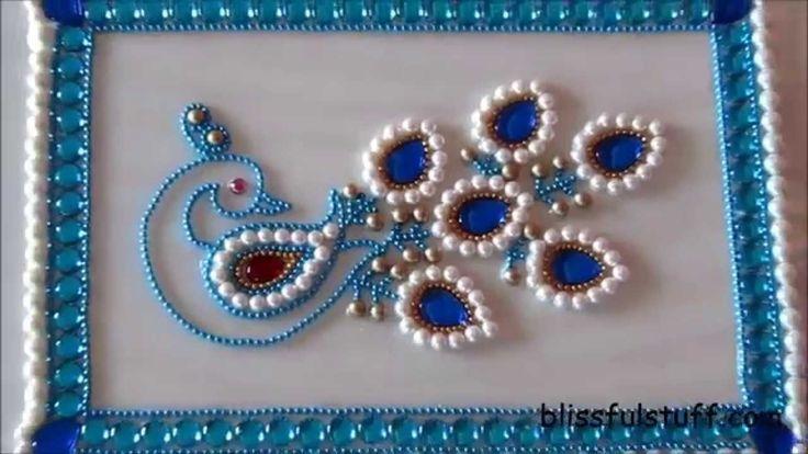 DIY-Beautiful Kundan Peacock Rangoli,Peacock rangoli motif,How to make p...
