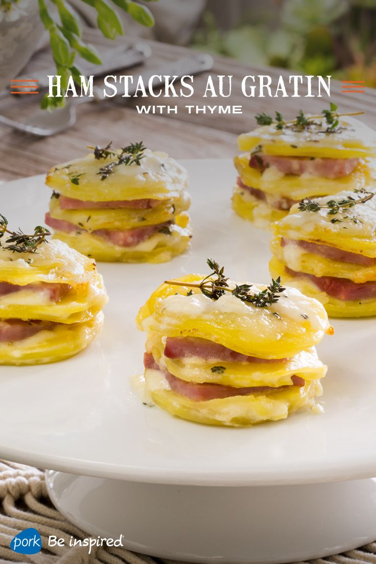 """Made in a muffin pan for simple prep and serving, this Haylie Duff recipe is the perfect side dish to any Easter centerpiece. Each """"stack"""" is layered with savory ham, thinly sliced potatoes, Gruyere cheese, thyme and a cream mixture."""