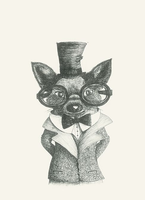 https://flic.kr/p/DvupNN   Mr Bau #drawing#animals#art#glasses#dog by Leo Bellei