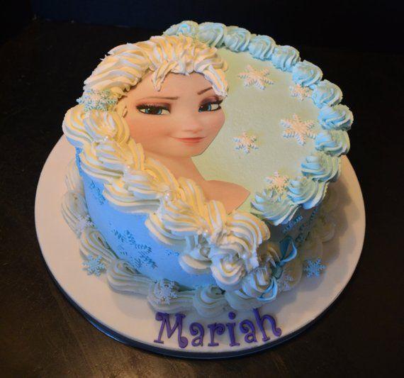 "Not pre-cut Elsa /& 4 Anna Cake Topper 4/""  Round Edible Icing Sheet"
