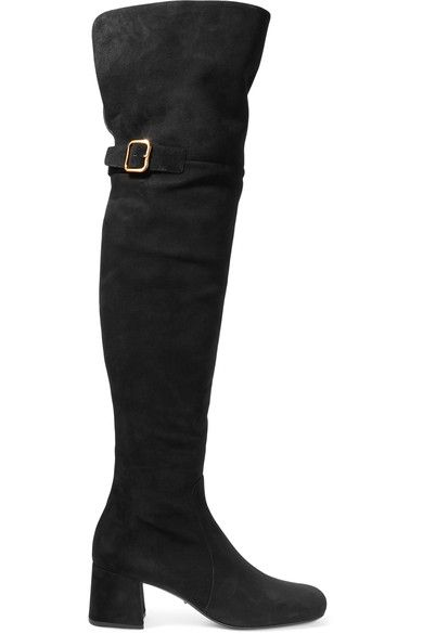 Prada - Suede Over-the-knee Boots - Black - IT41.5