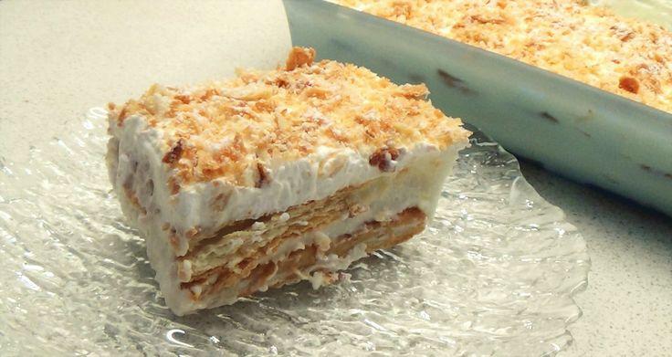 Μιλφέιγ! Γλυκό ψυγείου με κρέμα και σφολιάτα! // Mille feuille recipe wi...