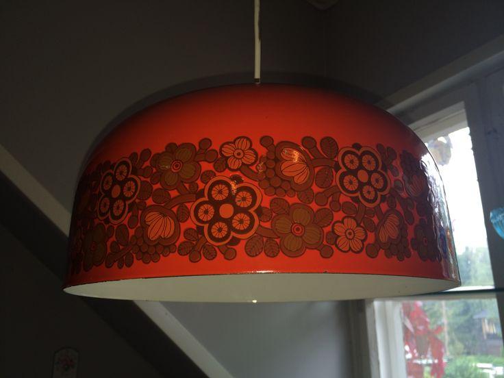 Large enamel lamp, red Primavera. Raija Uosikkinen.