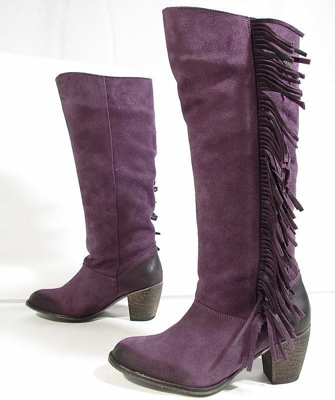"BUFFALO ""Fransen"" stivali cowboy boots biker pelle di camoscio (viola) Nuove"