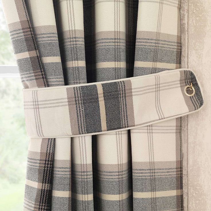 Highland Check Charcoal Tiebacks | Dunelm