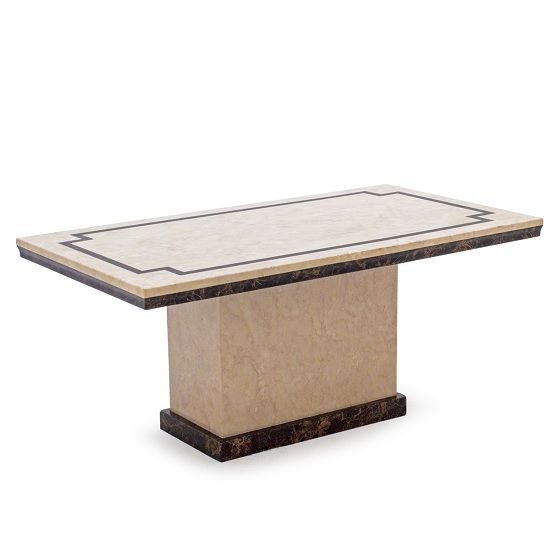 Trento High Gloss Marble Coffee Table In Beige And Dark Brown