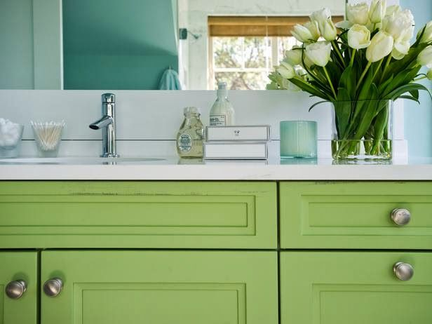 lovely green bathroom cabinets... Beautiful Bathroom Inspiration: Sophisticated Irish Green for St. Patrick's Day from Bathroom Bliss by Rotator Rod