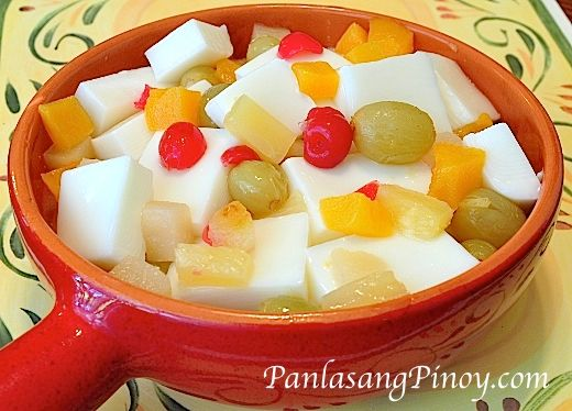 This Almond Jelly with Fruit Cocktail recipe is the best. Discover why this is different from any other gelatin recipes.