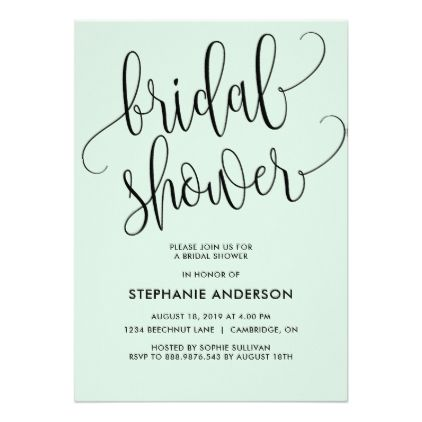 Chic Typography in Mint Green | Bridal Shower Card - invitations personalize custom special event invitation idea style party card cards