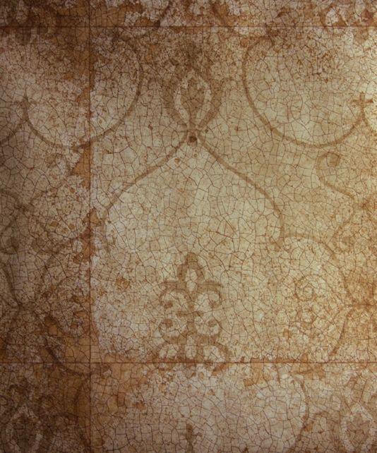 Rococo Mirror Wallpaper Copper wallpaper imitating antique mirror with crackle effect and shadow of rococo design