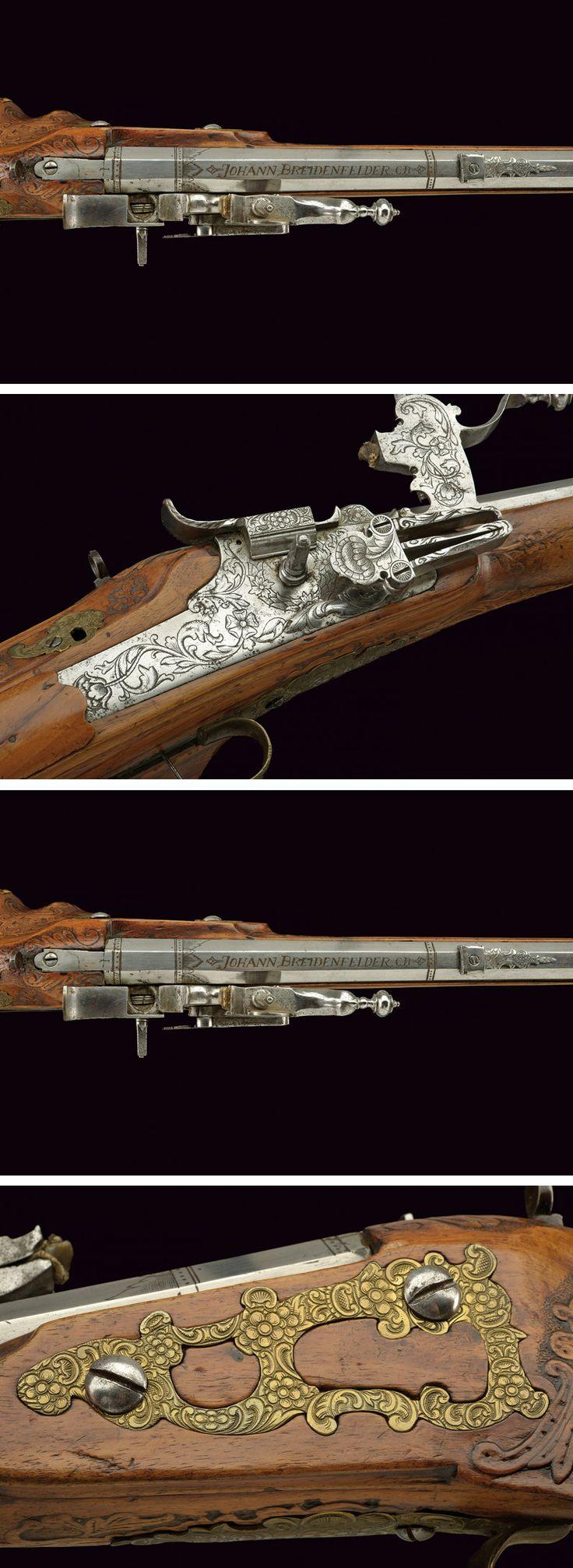 A wheel-lock rifle by Johann Breitenfelder:    provenance: Czechoslovakia, ca 1700