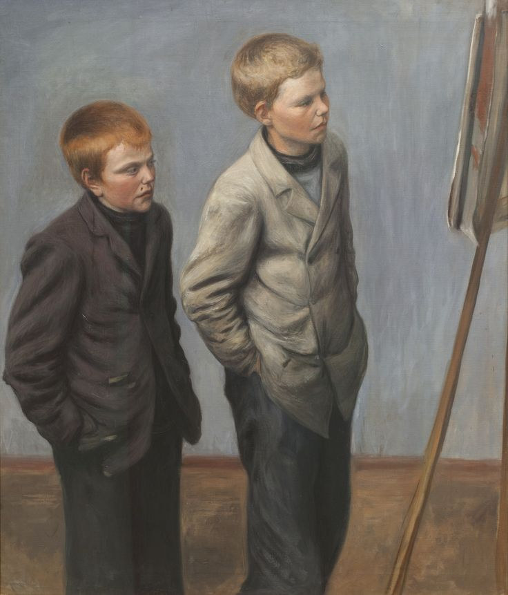 Artist Hugo Simberg's (1873–1917) oil painting Brothers was acquired for the Gösta Serlachius Fine Arts Foundations' collection from an auction in 1999, nearly a hundred years after the artwork was completed. In the painting, two boys are studying an artwork that is resting on an easel. more: http://www.serlachius.fi/en/collections/pearl-of-the-month/29-brothers/