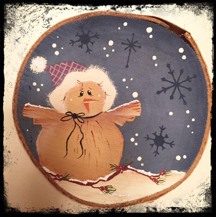 Sezione di legno decorata a mano.... Natale country...
