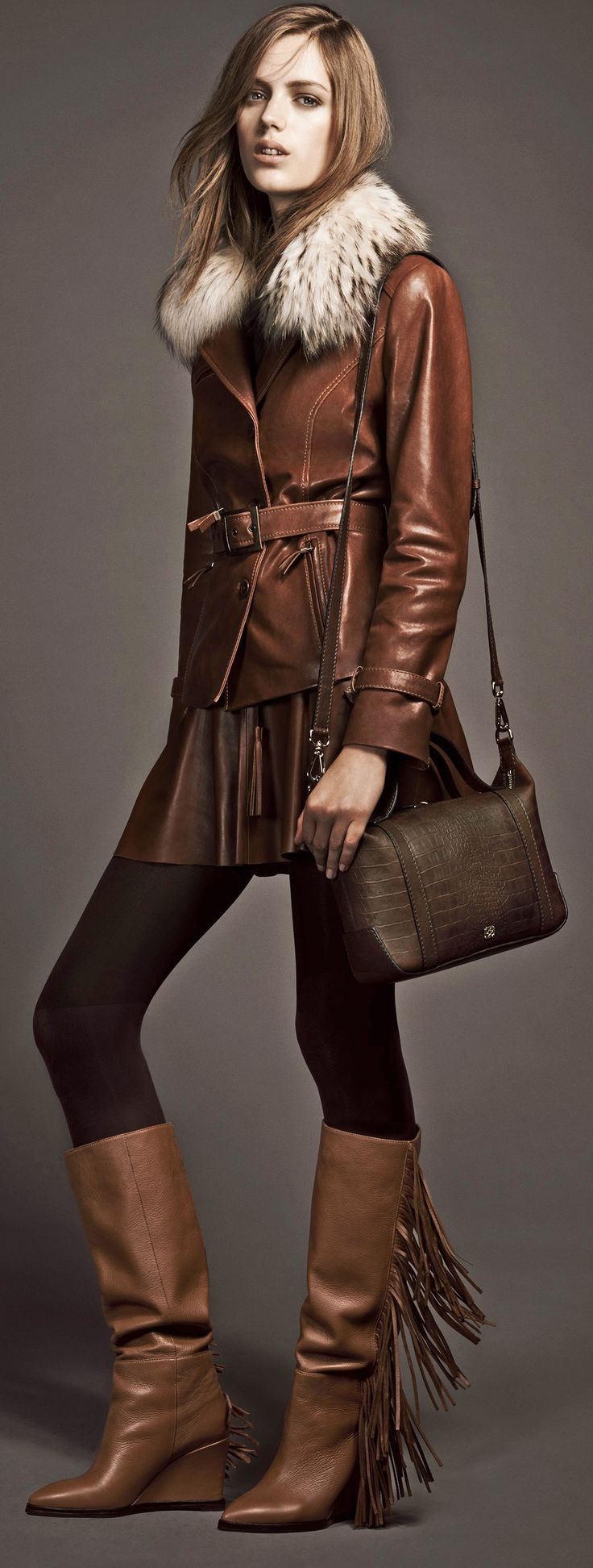 Cute boots & handbag & leather outfit for fall winter 2014 2015 - Desa UK - http://www.boomerinas.com/2013/02/02/best-crossbody-bags-for-travel-women-over-40-50-60/ - http://www.boomerinas.com/2013/02/02/best-crossbody-bags-for-travel-women-over-40-50-60/