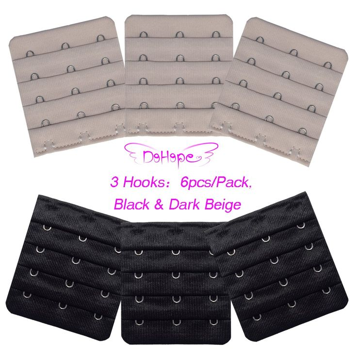 Ultra Soft Bra Extender Band Breathing Room 4 Rows Hook & Eye Extension Strap 6pcs (4 Rows 3 Hook 3/4 Inch Spacing Black, Dark Beige)