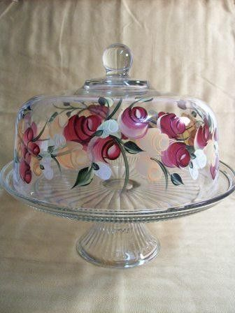 Cake dish  glass Cake dish covered cake dish cake dish with Roses painted cake dish punch bowl & 528 best Cake Stands images on Pinterest | Cake plates Cake carrier ...