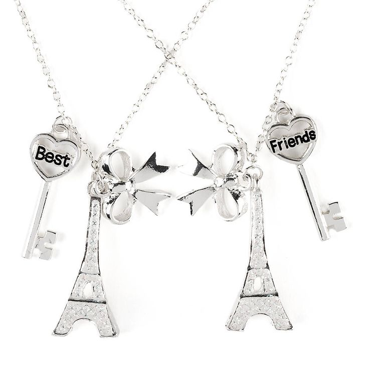 Project BFF Best Friends Glitter Eiffel Tower, Bow and Key Pendant Necklaces | Claire's