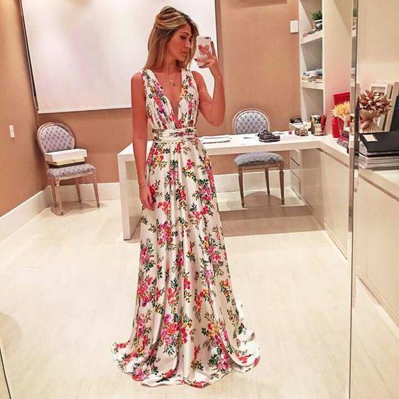 Vestido longo floral para casamento de dia