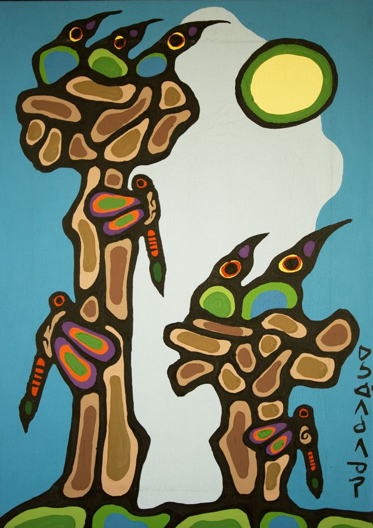 norval morrisseau | Norval Morrisseau-Thunderbirds. Original Paintings (Oils)