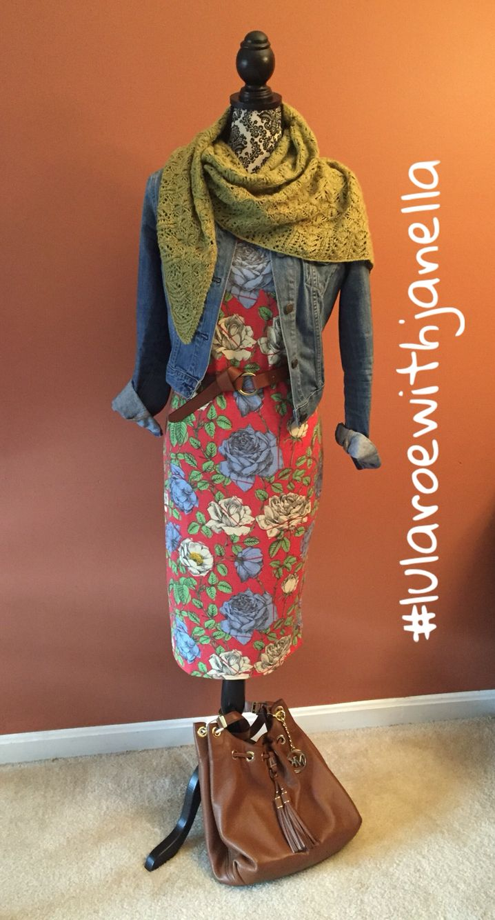 LuLaRoe Julia dress with handmade knitted scarf #lularoewithjanella #lularoejulia. The Julia dress is a fan favorite and I have sooo many cute prints available (florals, aztecs, shimmer and more ) Search FB for LuLaRoe Janella's VIP shopping group to see and shop my current inventory.