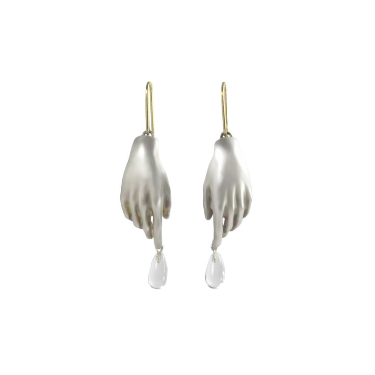 GABRIELLA KISS STERLING SILVER HAND EARRINGS WITH CRYSTAL DROPS | AUGUST