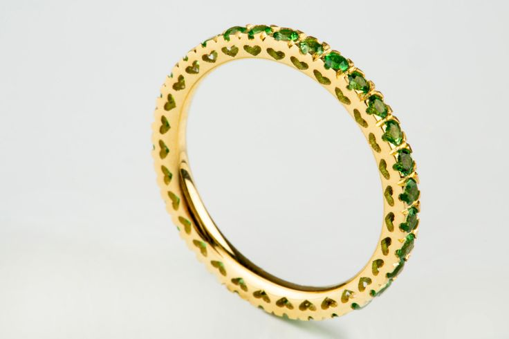 Diamond Eternity Ring, ALL RING SIZES AVAILABLE, Tsavorite Diamond Ring, Green Diamond Ring, Tsavorite Gold Ring, Solid Gold Diamond Band, Solid Gold Tsavorite Ring, Green Diamond Ring
