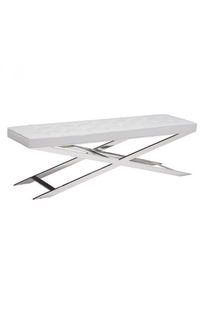 Potenza Small White Modern Bedroom Bench | Contemporary Bedroom Bench