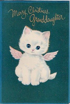 Snowball Kitty Cat Kitten Norcross Glitter Angel VTG Christmas Greeting Card