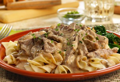 Always a family favorite, this classic dish of quickly sauted beef and onion in a creamy mushroom sauce is perfect over hot cooked noodles.