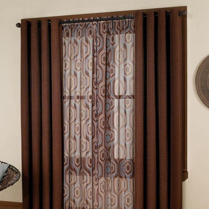 Orange Large Print Curtain Panels