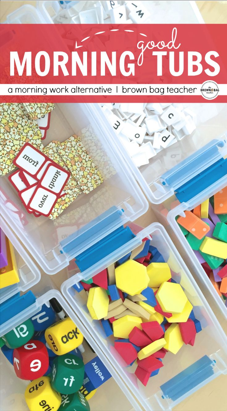 I am always struggling with paper morning work in 1st grade but LOVE this idea for hands-on, exploration-based morning tubs!  (The Brown Bag Teacher)