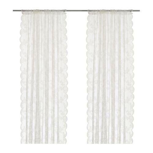 IKEA Gardinen-Set ALVINE SPETS - ZWEI weiße Gardinenschals: Amazon.de: Küche & Haushalt