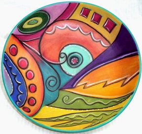 Abstract Bowl by Double Creek Pottery at Silver Fish Gallery