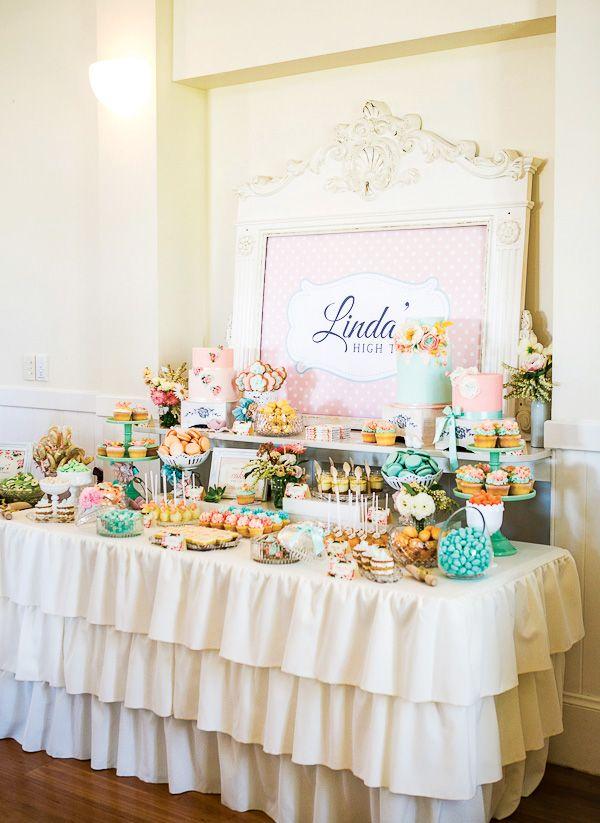bridal shower teparty decorations%0A Vintage Floral High Tea Bridal Shower