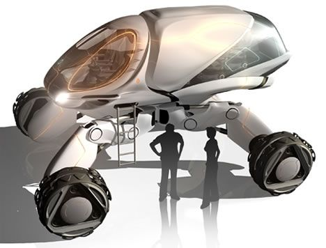"""The Landstorm concept vehicle was created for 2058. Designer Peter Spriggs intends Landstorm to be needed """"when airborne vehicles will not be effective to reach a particular area because of frequent natural disasters as a result of future global warming."""""""
