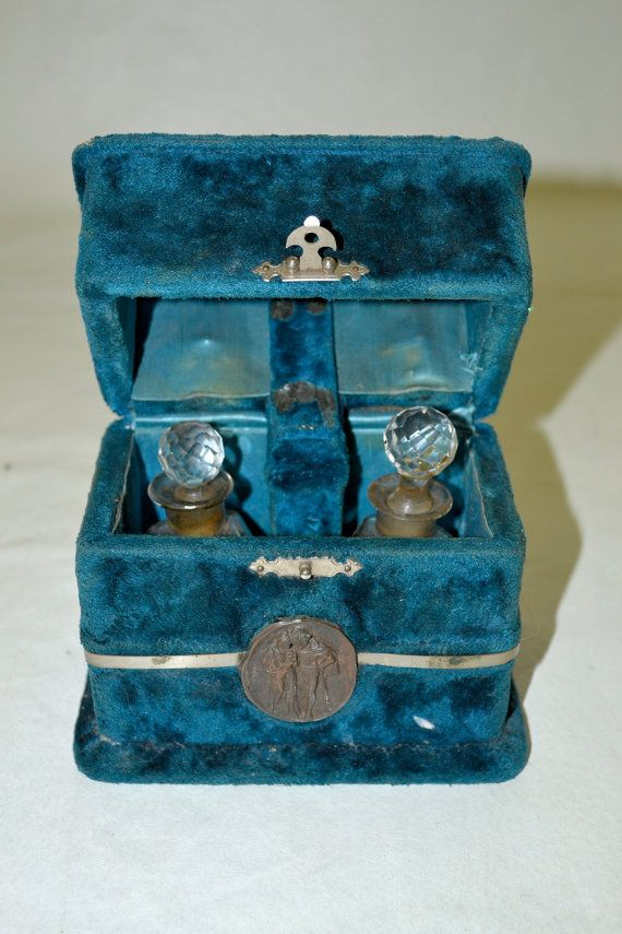 Antique early 1800s French Blue Velvet Box Cask with Crystal Perfume Bottles