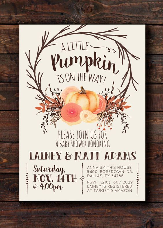 A little Pumpkin is on the way Woodland Fall Autumn