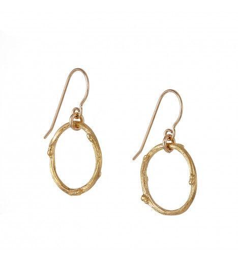 Hawthorn Twig Infinity Earrings in Gold